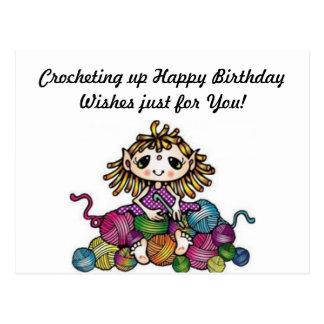 Souhaits faisants du crochet d'anniversaire carte postale