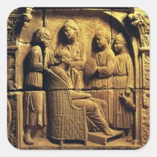 Soulagement de Bas d'un coiffeur, romain Autocollants Carrés