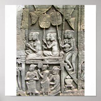 Soulagement de mur de temple de Bayon - honorer le Posters