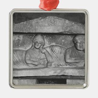 Soulagement funéraire d'un couple, de Palmyra, la Ornement Carré Argenté