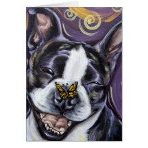 Sourire de Boston Terrier Carte De Vœux