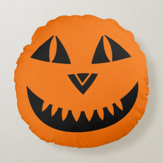 Sourire de citrouille de Halloween Coussins Ronds