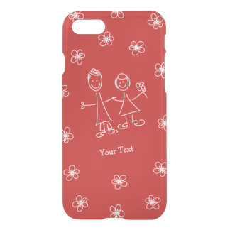 Sourire de pair amants dessinant le coque iphone