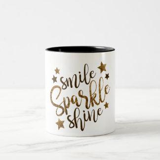 Sourire de scintillement d'or, étincelle, éclat tasse 2 couleurs