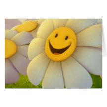 Sourire gai de fleurs cartes de vœux