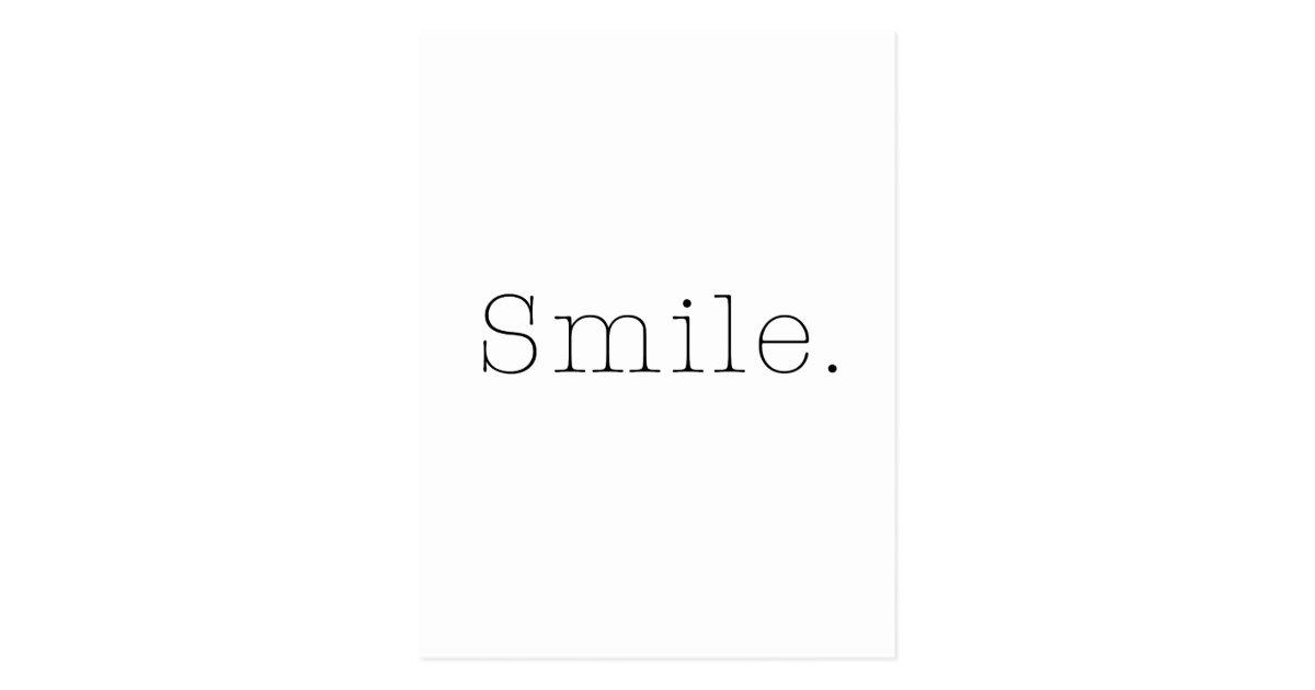 sourire mod le noir et blanc de citation de cartes postales zazzle. Black Bedroom Furniture Sets. Home Design Ideas