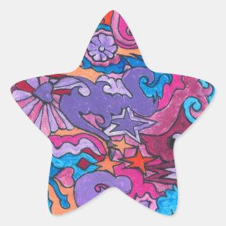 Sourire psychédélique sticker étoile