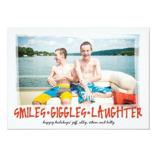 Sourires * rires bébêtes * rire carton d'invitation  12,7 cm x 17,78 cm