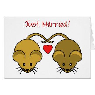 Souris Brown de mariage Carte De Vœux