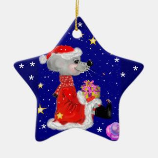Souris - christmas your texte ornement étoile en céramique
