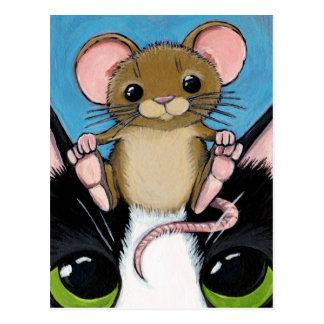 Souris de Brown et carte postale mignonnes de chat