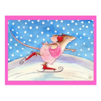 Souris de patinage rose mignonne carte postale