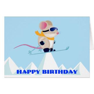 Souris de patrouille de ski dans l'anniversaire d' cartes