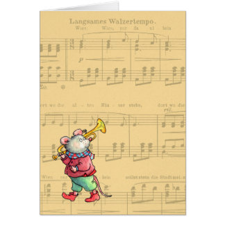 Souris de trompette sur la musique de feuille - ca carte de vœux