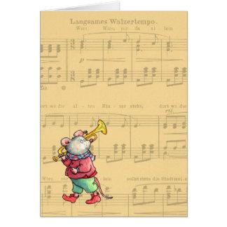 Souris de trompette sur la musique de feuille - carte de vœux