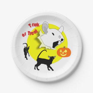 Souris et chats de citrouille de Halloween Assiettes En Papier