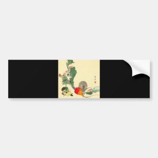 Souris et radis rouge, c.1800s de peinture japonai autocollant de voiture