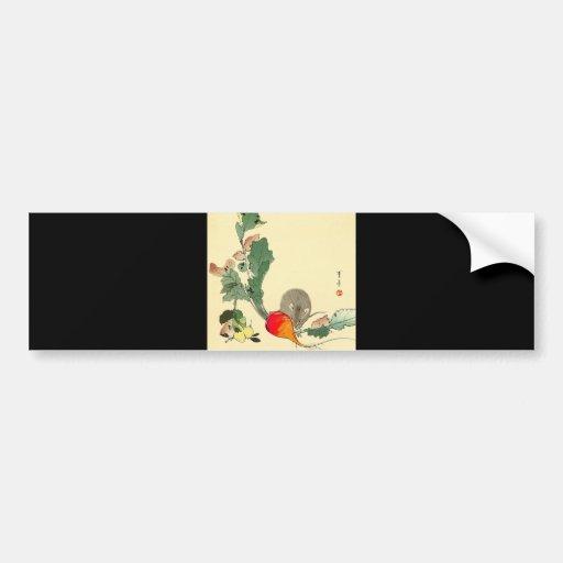 Souris et radis rouge, c.1800s de peinture japonai autocollant pour voiture