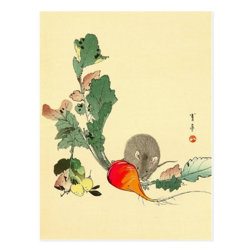 Souris et radis rouge, c.1800s de peinture japonai carte postale