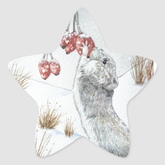Souris mignonne et art rouge de faune de scène de sticker en étoile