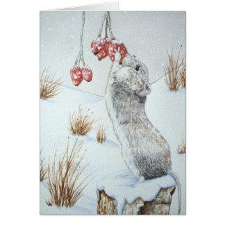 Souris mignonne et art rouge de faune de scène de cartes