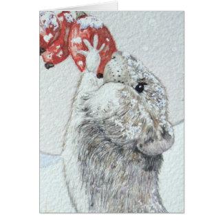 Souris mignonne et art rouge de faune de scène de cartes de vœux