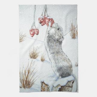 Souris mignonne et art rouge de faune de scène de serviettes pour les mains