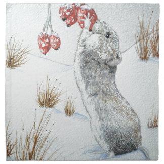 Souris mignonne et art rouge de faune de scène de serviettes imprimées