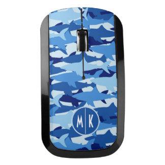 Souris Sans Fil Monogramme du motif | de requin bleu
