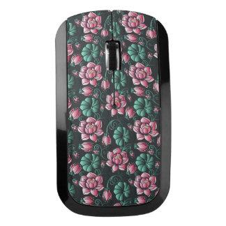 Souris Sans Fil Motif floral élégant de motif rose de Lotus