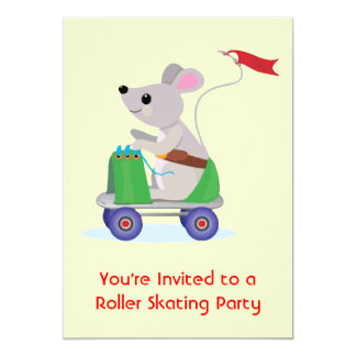 Souris sur une partie de patin de rouleau de invitations personnalisées