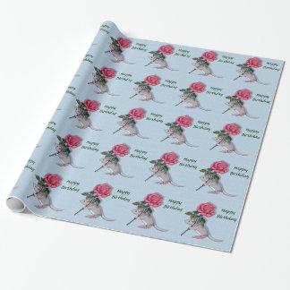 Souris tenant un grand rose de rose : Illustration Papier Cadeau