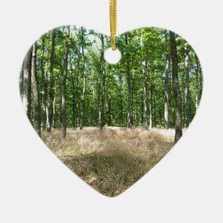 sous bois  et tapis de graminées à l'automne ornement cœur en céramique