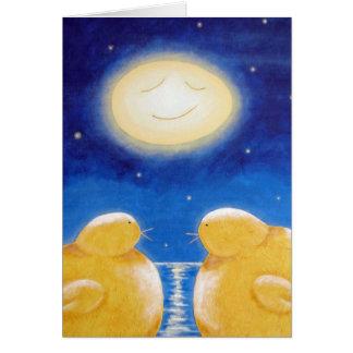 Sous la pleine lune d'oeufs cartes de vœux
