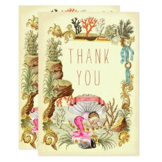 Sous la princesse Merci de sirène de mer Carton D'invitation 8,89 Cm X 12,70 Cm
