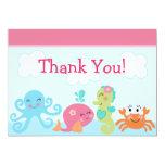 Sous la vie marine/le carte de remerciements baby cartons d'invitation