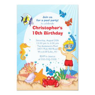 Sous le garçon d'invitation d'anniversaire de carton d'invitation  12,7 cm x 17,78 cm