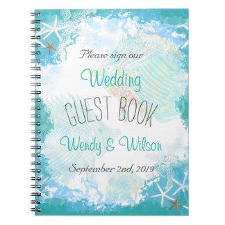 Sous le livre d'invité de mariage de mer carnets à spirale