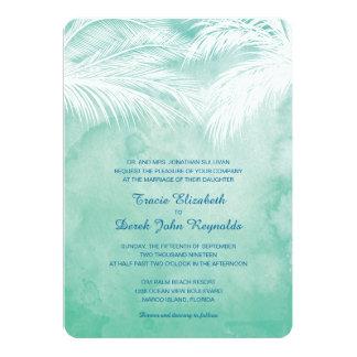 Sous le mariage d'aquarelle des palmiers | carton d'invitation  12,7 cm x 17,78 cm