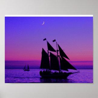 Sous le plein bateau à voile à Key West Poster