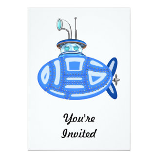 Sous-marin bleu carton d'invitation  12,7 cm x 17,78 cm