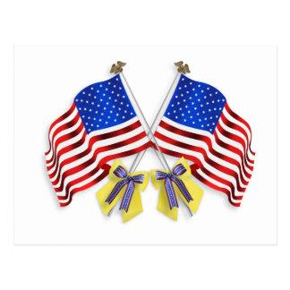 Soutenez nos rubans et drapeaux jaunes de troupes cartes postales
