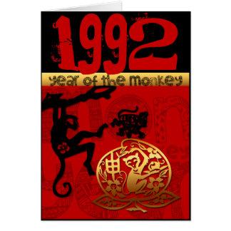 Soutenu pendant l'année 1992 de singe - carte de