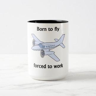 Soutenu pour voler obligatoire pour travailler tasse 2 couleurs