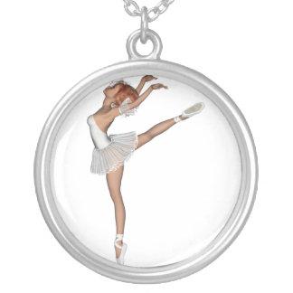 Souvenir blanc de ballerine du tutu 3D Pendentif Rond
