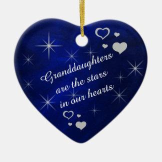 Souvenir de coeur d'étoile de petite-fille ornement cœur en céramique