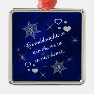 Souvenir de flocon de neige d'étoile de ornement carré argenté