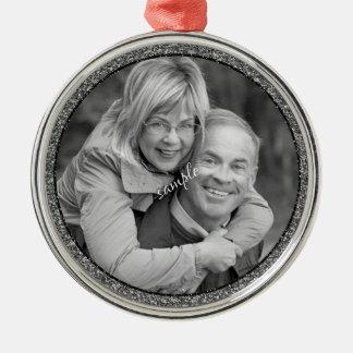 Souvenir de photo de couples ou de famille ornement rond argenté