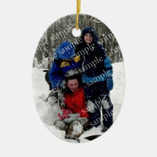 Souvenir de photo de jour de Noël Ornement Ovale En Céramique