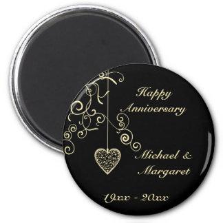Souvenir élégant d'anniversaire de mariage de magnet rond 8 cm